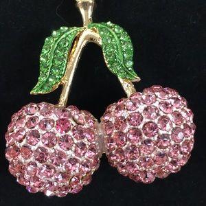 NEW! NWT! Pink Cherries Sparkle Keychain!